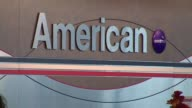 WGN American Airlines Sign At Airport CheckIn on October 02 2012 in Chicago Illinois