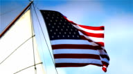 American flag attached to a pirate sail