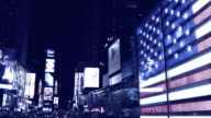 American flag in times square, New York, USA