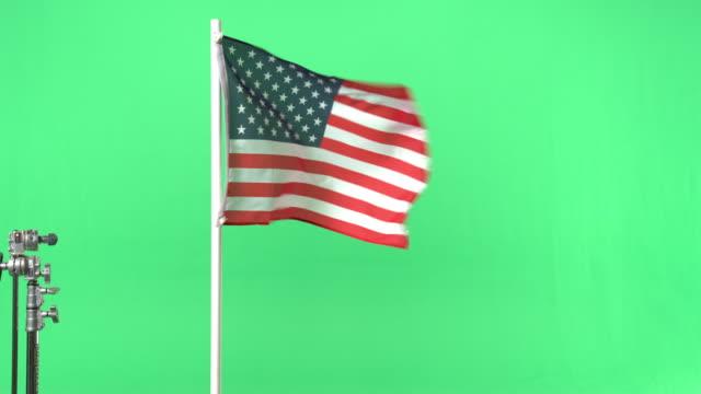 American flag on green screen
