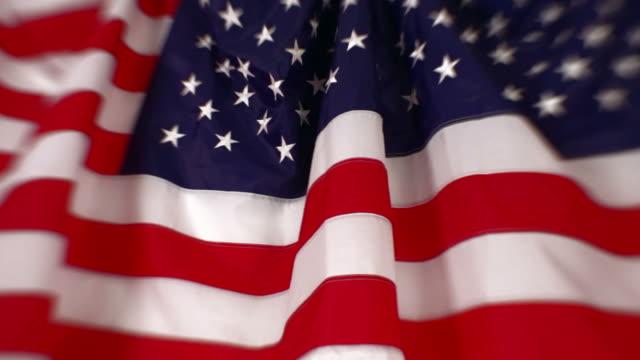 American Flags draped on backdrop - Pan, SF