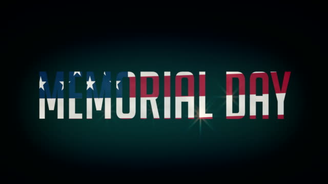 American Mermorial Day flag,and typpography animation 4K