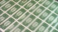 CU, American one dollar bills being minted, Washington DC, USA