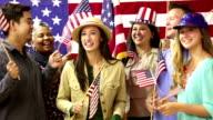 Amerikanische Volk Welle-flags auf Politische Versammlung, der Konvent.