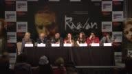 Amit Khanna Prasoon Joshi Suhasini Ratnam Abhishek Bachchan Aishwarya Rai Bachchan and 'Chiyaan' Vikram at the Raavan Event and Interviews Cannes...