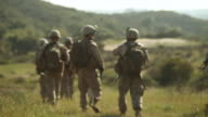 MS  Amongst marines squadron holding position ingrassy field  AUDIO / Camp Pendleton, CA, United States