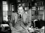 INTRO American character actor Thomas Mitchell w/ home office library BG INTRODUCTION Books old friends story about 'Yankee Doodle' going to be...
