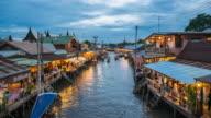 Amphawa floating market in Thailand at Dusk, Floating Market, Time Lapase