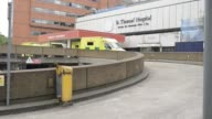 Amulances sit outside Guys Hospital London Bridge in London United Kingdom on Thursday May 28 2015 Shots Amulances sit outside Guys Hospital Waterloo