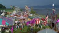 HA, WS, Amusement park at seashore, USA