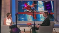 Amy Robach interviewing Andrew Garfield on the Good Morning America show in Celebrity Sightings in New York