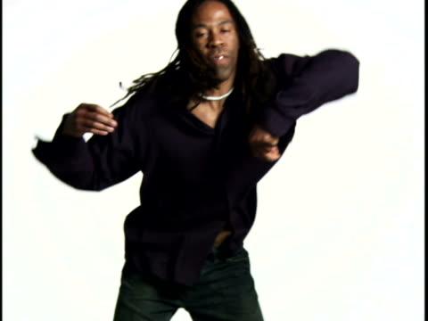 An adult man dancing