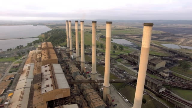 An aerial closeup view of the Hazelwood Power Station in the Latrobe Valley, Victoria at sunrise.