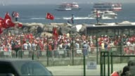 "An aerial footage shows that people hold Turkish flags as they arrive to take part in ""Democracy and Martyrs' Rally"" in Istanbul which will be held..."