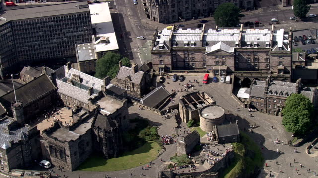 An aerial shot over Edinburgh Castle. Available in HD.