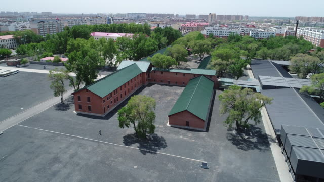 An aerial view of the main building Of Crime Evidence Of Japanese Germ Factory on May 19 2017 in Harbin China This Japanese Germ Factory was built...