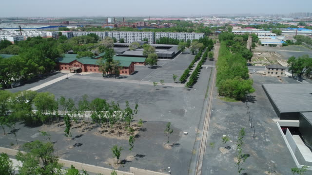 An aerial view of the remains Of Crime Evidence Of Japanese Germ Factory on May 19 2017 in Harbin China This Japanese Germ Factory was built and run...