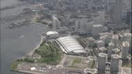 An Aerial view shows the harbor and the Minato Mirai 21 area in Yokohama, Japan.