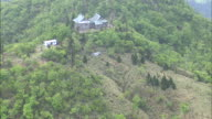 An aerial view shows the Hikosan Jing_ Honsha shrine at the summit of Mt. Hiko.
