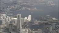An Aerial view shows the Port of Yokohama and the Minato Mirai 21 area in Yokohama, Japan.