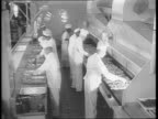 An airplane factory is shown / closeup of airplane parts / many people sit in a cafeteria eating and smoking cigarettes / cafeteria workers push...