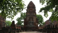 An ancient city,Wat Mahathat. Front view. Timelapse.