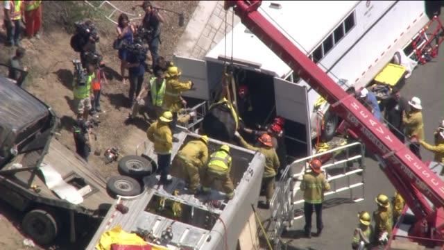 KTLA An animal trailer overturned on the 210 Freeway in Sylmar prompting the rescue of pregnant cows sheep dog on the side of the interstate and the...