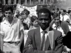 An antiapartheid rally takes place in Trafalgar Sqaure in London