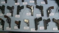 An Array of Illegal Assault Rifles Confiscated By the New York City Police Department at a Press Conference Confiscated Assault Rifles Layed Out on...