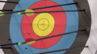 An arrow hitting the center of a target. - Slow Motion - filmed at 480 fps