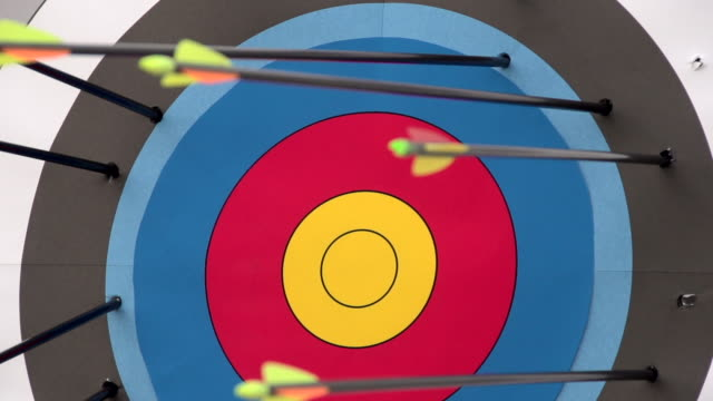An arrow hitting the center of a target. - Super Slow Motion - filmed at 240 fps