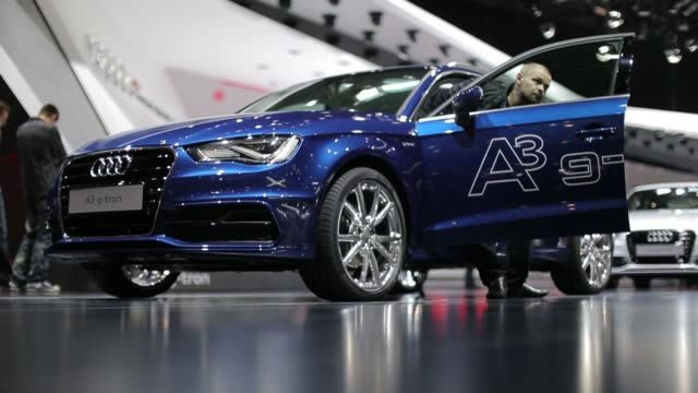 An Audi A3 gtron automobile produced by Audi AG is seen on display on the second day of the 83rd Geneva International Motor Show in Geneva visitors...