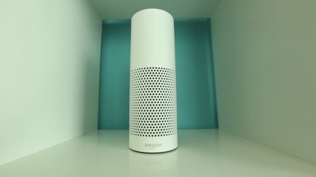 An Echo device stands on display during the UK launch event for the Amazoncom Inc Echo voice controlled home assistant speaker in London UK on...