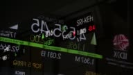 An electronic board displaying the Jakarta Composite Index figure is reflected on a glass window inside the Indonesia Stock Exchange in Jakarta...
