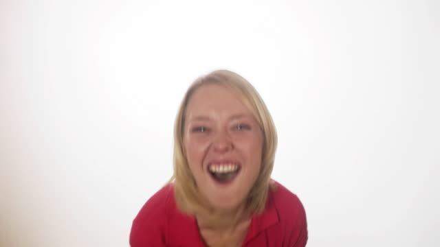An emotional happy Scandinavian woman Sweden.