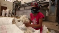 An employee seperates scoured pashmina before sending it for dehairing at the Pashmina Processing Plant run by the All Changhtang Pashmina Growers Co...