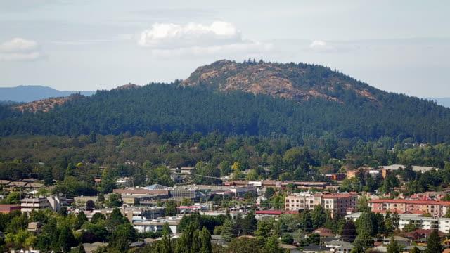 An establishing shot of Victoria bordered by Mount Douglas