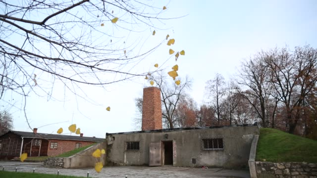 An exterior view of the gas chamber and crematorium the Auschwitz I extermination camp on November 15 2014 in Oswiecim Poland Ceremonies marking the...