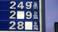 An ExxonMobil gas station stands in Richmond Kentucky US as the sun rises on Wednesday April 29 2015 Shots Close up shots of gas prices posted on an...