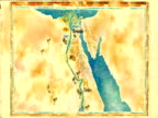 An illustrated map shows the locations of Memphis and Thebes along the Nile River in ancient Egypt .
