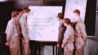 An instructor is pointing to a board and explaining convoy procedure to students in the classroom at the Maritime Service Officers' School / Alameda...