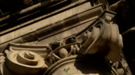 An intricate capital tops the Royal Crescent in Bath England. Available in HD.