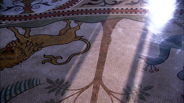 An intricate mosaic decorates the floor of the Throne Hall of Neuschwanstein Castle. Available in HD.