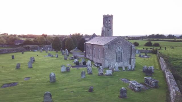 An Irish cemetery at dusk