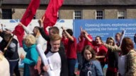 An Irish language protest takes place outside Hillsborough Castle in Belfast They are calling on the UK government to ensure the introduction of...