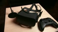An Oculus VR headset on display in San Francisco California on June 17 2015 Shots of Wide shots and close ups of a Oculus VR headset and an Xbox...