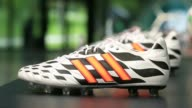 An official Adidas World Cup brazuca football sits on display inside the Adidas AG headquarters in Herzogenaurach Germany on Thursday May 15 The...
