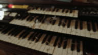 An old organ and hundreds of feathers from birds in a small farm church