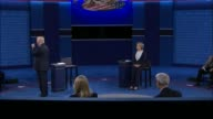 CNN anchor Anderson Cooper and ABC News correspondent Martha Raddatz moderate as Democratic Party presidential candidate Hillary Clinton and...