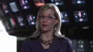 CU Anchor talking to camera, Dallas, Texas, USA